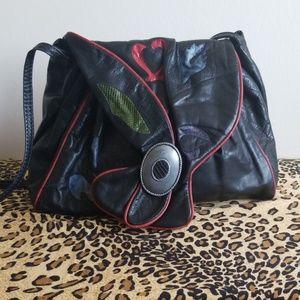 Hala Vtg. Black Shoulder Bag with Exotic Textures